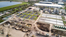 Sewage Farm: waste water treatment processing plant Royalty Free Stock Photos