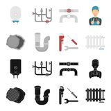 Sewage hatch, tool, radiator.Plumbing set collection icons in black,cartoon style vector symbol stock illustration web. Sewage hatch, tool, radiator.Plumbing Royalty Free Stock Image