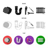 Sewage hatch, tool, radiator.Plumbing set collection icons in black,flat,outline style vector symbol stock illustration.  Royalty Free Stock Photography