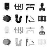 Sewage hatch, tool, radiator.Plumbing set collection icons in black,monochrome style vector symbol stock illustration.  Royalty Free Stock Photos
