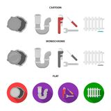 Sewage hatch, tool, radiator.Plumbing set collection icons in cartoon,flat,monochrome style vector symbol stock. Illustration Stock Photos