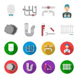 Sewage hatch, tool, radiator.Plumbing set collection icons in cartoon,flat style vector symbol stock illustration web. Sewage hatch, tool, radiator.Plumbing set Royalty Free Stock Photo