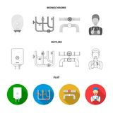 Sewage hatch, tool, radiator.Plumbing set collection icons in flat,outline,monochrome style vector symbol stock. Illustration Royalty Free Stock Photos