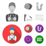 Sewage hatch, tool, radiator.Plumbing set collection icons in monochrome,flat style vector symbol stock illustration web. Sewage hatch, tool, radiator.Plumbing Stock Images