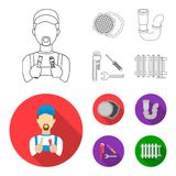 Sewage hatch, tool, radiator.Plumbing set collection icons in outline,flat style vector symbol stock illustration web. Sewage hatch, tool, radiator.Plumbing set Royalty Free Stock Photos