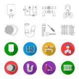 Sewage hatch, tool, radiator.Plumbing set collection icons in outline,flat style vector symbol stock illustration web. Sewage hatch, tool, radiator.Plumbing set Royalty Free Stock Image