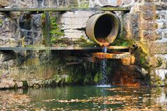 Sewage pipe. Polluting water. See my other works in portfolio Royalty Free Stock Image