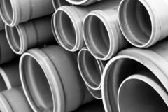 Sewage Pipes Close Up Shot In Black And White Royalty Free Stock Photo