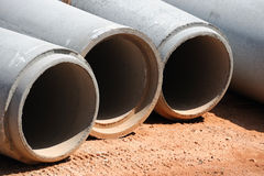 Sewage pipes. Concrete sewage pipes in construction site Royalty Free Stock Images