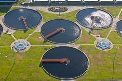 Sewage plant. Water tanks of a sewage plant Stock Photo