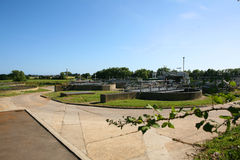 Sewage Treatment Plant. A sewage treatment and water treatment works in England showing the filter beds stock photos