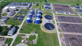 Sewage treatment plant. Aerial Shot stock video footage