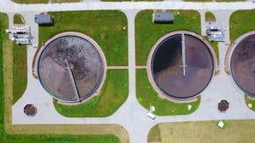 Sewage treatment plant. Aerial Shot stock video