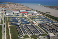 Sewage Treatment Plant. Aerial View of the Sewage Treatment Plant of Barcelona. Catalonia Royalty Free Stock Photography