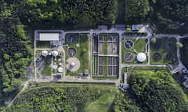 Sewage treatment plant from the bird`s eye view Royalty Free Stock Photos