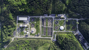 Sewage treatment plant from the bird`s eye view Stock Image