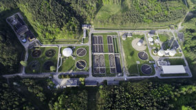 Sewage treatment plant from the bird`s eye view Stock Photos