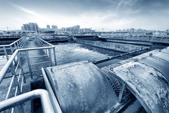 Sewage treatment plant Royalty Free Stock Images