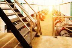 Sewage treatment plant piping Stock Photo