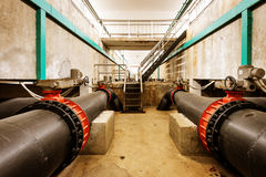 Sewage treatment plant piping Royalty Free Stock Photo