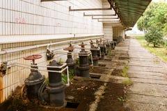 Sewage treatment plant piping Royalty Free Stock Photos
