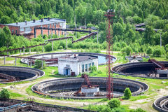Sewage treatment plant with settlers, top view Stock Photo