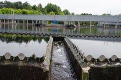 Sewage treatment sedimentation. Drinkable water. Last sewage water treatment stage filtration sedimentation. Drinkable water flow Stock Photos