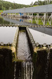 Sewage treatment sedimentation. Drinkable water. Last sewage water treatment stage filtration sedimentation. Drinkable water flow Royalty Free Stock Photos