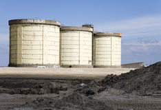 Sewage treatment silos Stock Photo