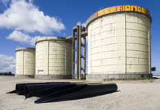 Sewage treatment silos Royalty Free Stock Photography
