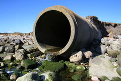 Sewage waste pipe Stock Photo