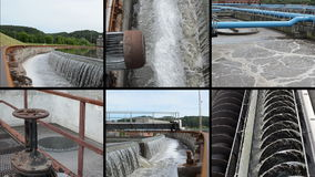 Sewage waste water cleaning plant. Waterworks. Footage collage stock video footage