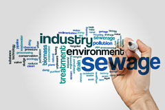 Sewage word cloud concept stock images
