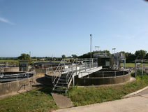 Sewage works. A sewage treatment plant in Sussex England royalty free stock image