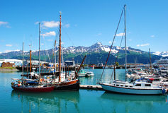 Seward Alaska. Beautiful harbour in Seward, Alaska royalty free stock images