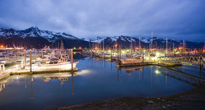 Seward Alaska Reserrection Bay Marina Midnight  Royalty Free Stock Photography