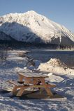 Seward city coastline Picnic Table Winter Alaska Royalty Free Stock Images
