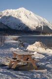 Seward city coastline Picnic Table Winter Alaska Royalty Free Stock Images