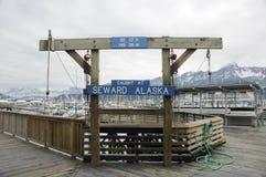 Seward Harbor Sign. A sign at Seward Harbor in Alaska used to display the fish caught Royalty Free Stock Image