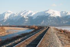 Seward Highway. The rail road tracks along the Seward Highway Stock Photo