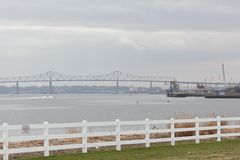 Outerbridge Crossing from Sewaren New Jersey. SEWAREN, NEW JERSEY - April 5, 2017: The Outerbridge Crossing, connecting Perth Amboy with Staten Island, is viewed royalty free stock photos