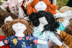 Sewed handmade dolls Royalty Free Stock Image