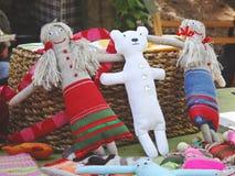 Sewed handmade dolls Stock Photos
