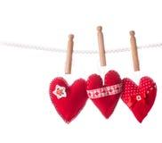 Handmade red hearts Stock Photos