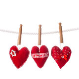 Handmade red hearts Royalty Free Stock Photo