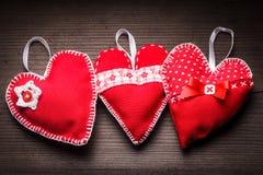 Handmade red hearts Royalty Free Stock Photo
