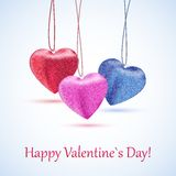 The sewed hearts. Three cute sewed hearts hanged on threads Stock Photos