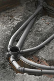 Sewer. Set of a sewer pipes during house construction stock image
