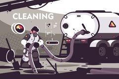 Sewer Cleaning service flat poster. Professional plumber characters in uniform working at sewer manhole with septic truck plumbing serve vector illustration royalty free illustration
