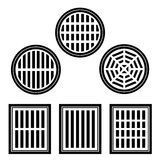 Sewer cover black symbol Stock Photo